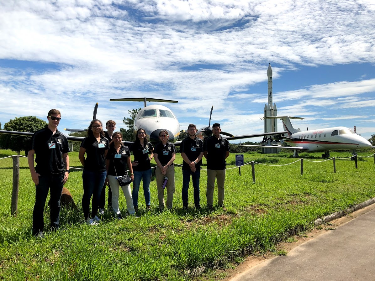 Brazil students with aircraft
