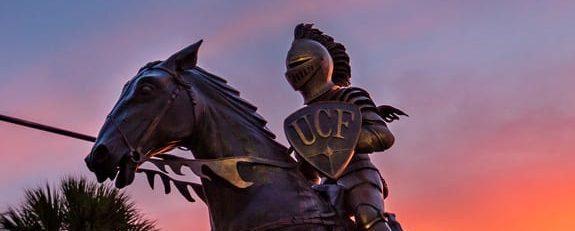 Alumni statue of knight on horse